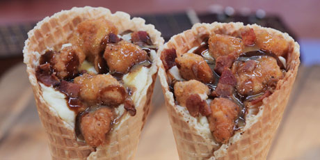Fried chicken and waffles cone recipes food network canada fried chicken and waffles cone foods greatest hits forumfinder Images
