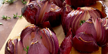 Roasted Red Onions with Walnut Dressing