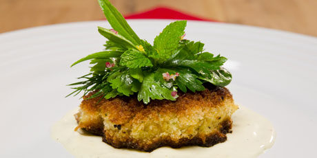 King Crab Cakes with Lemon Aioli and Herb Salad