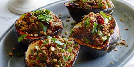 Vegan quinoa cranberry stuffed acorn squash recipes food network vegan quinoa cranberry stuffed acorn squash print recipe forumfinder Images