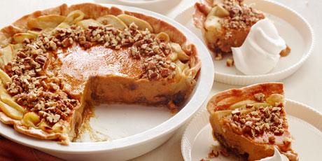 Apple pumpkin pecan pie recipes food network canada apple pumpkin pecan pie print recipe forumfinder Choice Image
