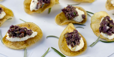 Potato Crisps with Goat Cheese and Olives