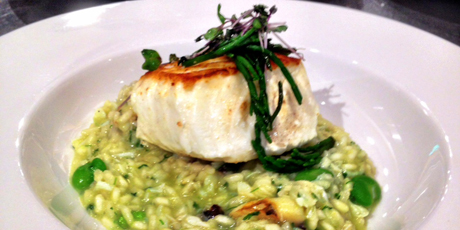 Pan-Seared Halibut with Dungeness Crab & Sweet Pea Risotto