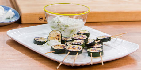 Grilled Zucchini Skewers with Jalapeno Yogurt Dipping Sauce