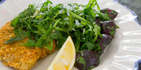 Chicken cutlets with spicy arugula recipes food network canada chicken cutlets with spicy arugula forumfinder Choice Image