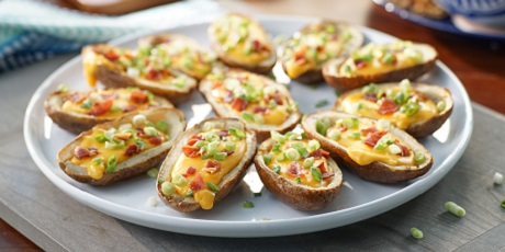 Potato skins with beer cheese recipes food network canada potato skins with beer cheese forumfinder Choice Image