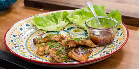 Sticky glazed chicken thighs in butter lettuce recipes food sticky glazed chicken thighs in butter lettuce forumfinder