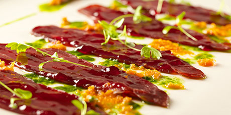 Venison Carpaccio With Cedar Jelly and Sea Buckthorn Jam