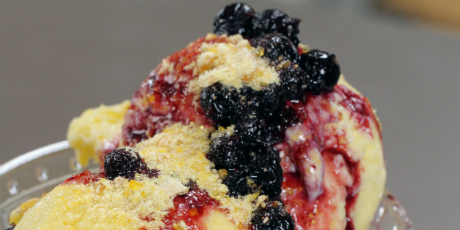 Sweet Corn Ice Cream with Blueberry Compote and Corn Nut Praline