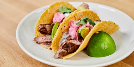Flank Steak Tacos with Pickled Onions, Avocado and Cilantro Lime Crema