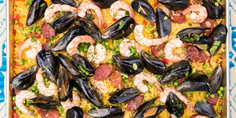 Grilled sheet pan paella recipes food network canada grilled sheet pan paella print recipe forumfinder Gallery