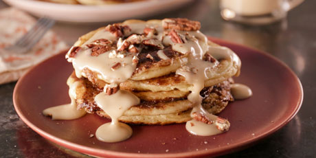 Cinnamon Bun Pancakes with Maple Cream Cheese Glaze