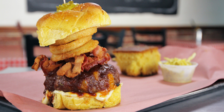 Smoked Cheddar-Stuffed Burger and Onion Rings