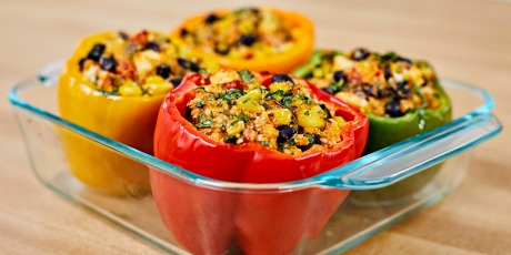 Tex Mex Cauliflower Rice Stuffed Peppers