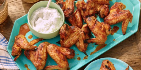 Grilled chicken wings with spicy chipotle hot sauce and blue cheese grilled chicken wings with spicy chipotle hot sauce and blue cheese yogurt dipping sauce forumfinder Image collections