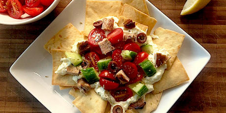 Souvlaki-Style Nachos with Garlicky Yogurt Feta Sauce