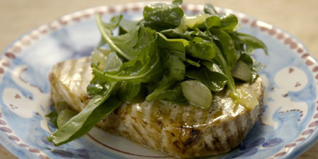 Grilled Swordfish with Candied Lemon Salad