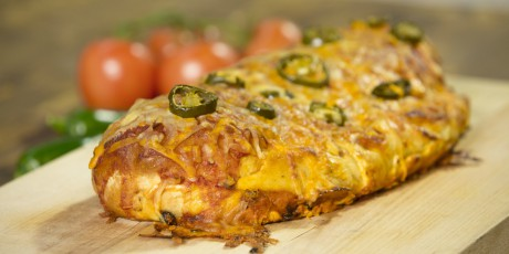 Cheesy chicken enchilada garbage bread recipes food network canada cheesy chicken enchilada garbage bread print recipe forumfinder