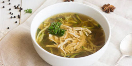 Chicken noodle soup with zucchini noodles recipes food network canada chicken noodle soup with zucchini noodles print recipe forumfinder Images