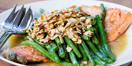 One Skillet Trout with Green Beans and Almonds