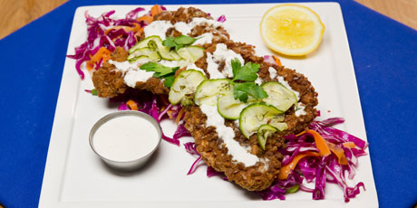 Pretzel coated schnitzel with pickled cucumber and cabbage slaw pretzel coated schnitzel with pickled cucumber and cabbage slaw forumfinder Choice Image
