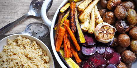Colourful roasted vegetables and garlic quinoa recipes food colourful roasted vegetables and garlic quinoa print recipe forumfinder Images