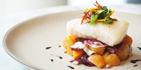 Haida Gwaii Halibut with Roasted Beets, Toasted Pine Nuts and Aged Balsamic