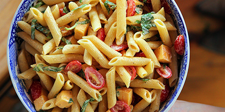 Spicy Pasta Salad with Smoked Gouda, Tomatoes and Basil Recipes | Food ...