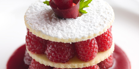 Raspberry Sables With Raspberry Coulis And Chantilly Cream Recipes Food Network Canada