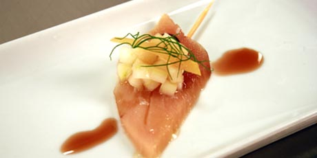 Albacore Tuna Crudo with Fennel and Apple Salad and Ice Wine Reduction
