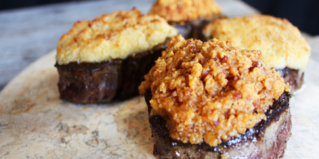 Bacon Cheddar Crusted Beef Tenderloin