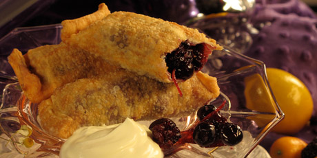 Blackberry & Blueberry Eggrolls with Creme Fraiche