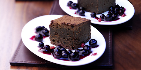 Brownie Dominoes with Wild Blueberry Cinnamon Sauce
