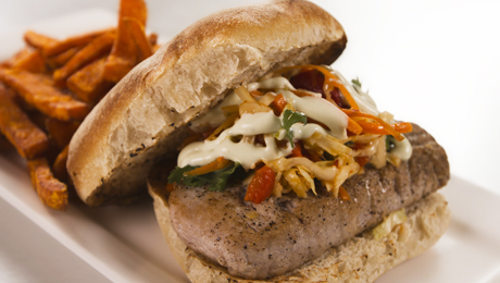 delicious yet elegant burger! Two pounds of seared Ahi tuna topped ...