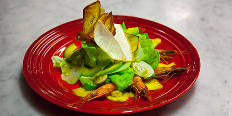 Caribbean Shrimp Salad with Avocado, Hearts of Palm, Fried Cassava and a Pineapple Lime Vinaigrette