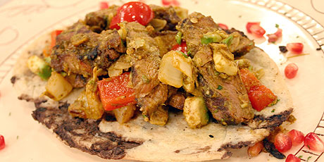 Carne Con Ahuacate Tlacollos (Steak with Avocado and Refried Bean Tortillas)