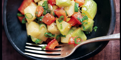 Chayote Salad with Tomato and Roasted Garlic Dressing