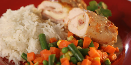 Chicken Cordon Bleu With Rice And Mixed Veggies Recipes Food Network Canada