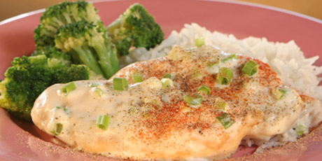Chicken In A Light Cream Sauce With Rice And Broccoli