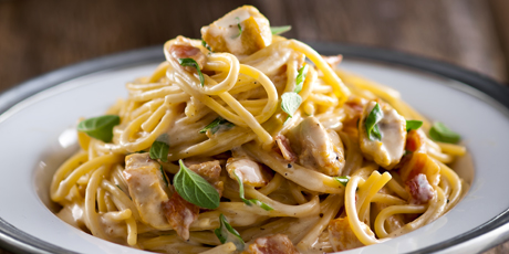 Chicken & Bacon Spaghetti in Cheddar Sauce