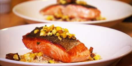 Chinook Salmon with Smoked Salmon Leek & Potato Chowder