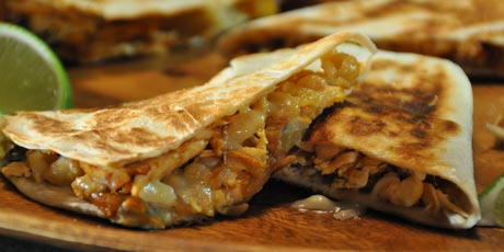 Chipotle Chicken Quesadillas with Smashed White Beans, Corn Salsa