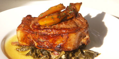 Cider-Glazed Pork Chops with Apple Thyme Chutney and Collard Greens