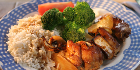 Country Apricot Chicken with Rice and Broccoli