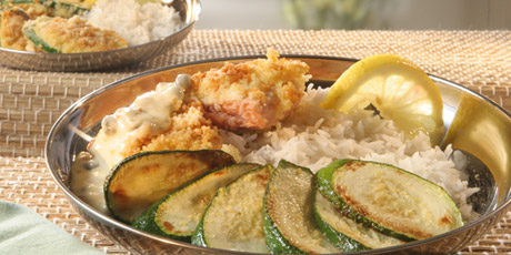 Couscous-Crusted Salmon with Caper Mayonnaise, Rice and Zucchini