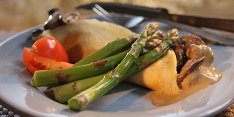 Crepes With Beef And Red Wine Gravy With Asparagus