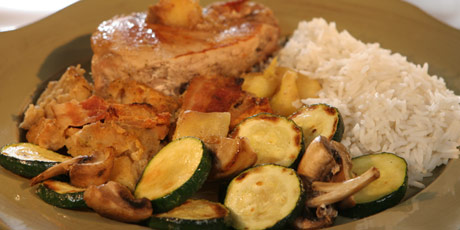Crock-Pot Apple-Bacon Pork Chops with Rice, Zucchini and Mushrooms