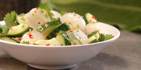 Roger Mooking's spicy Cucumber Salad with lychees and Thai chilies.