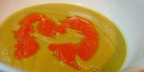 Curried Cauliflower Soup with Red Pepper Puree