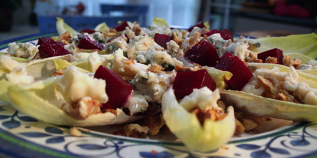 Endive Salad with Beets, Walnuts and Blue Cheese